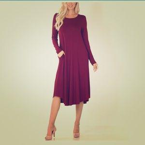 Dark Burgundy Long Sleeve Pocket Midi Dress